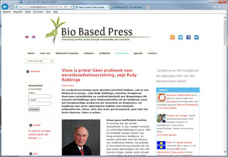 Biobased Press, pagina met een opengekikt artikel