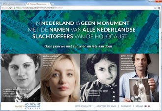 Homepage van de Holocaust Namenmonument website
