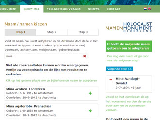 Close-up van het adopteren van namen op de website